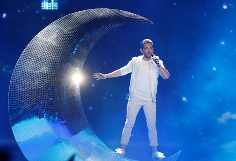 KIEV, UKRAINE - MAY 13: Austria's representative for Eurovision 2017 Nathan Trent performs on the stage during the Grand-Final of the Eurovision Song Contest in Kiev, Ukraine, on May 13, 2017.  (Photo by Vladimir Shtanko/Anadolu Agency/Getty Images)