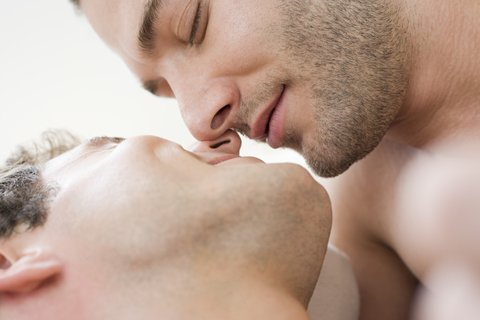 Intimate gay couple