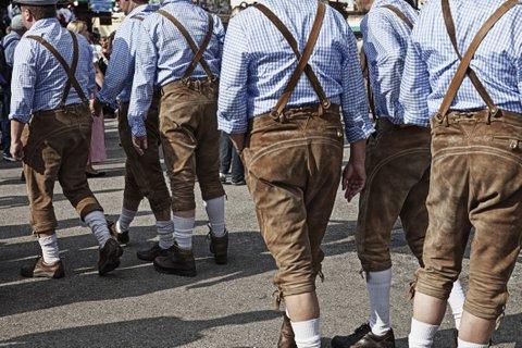 Men in Lederhosen on the Oktoberfest in Munich, Bavaria, Germany