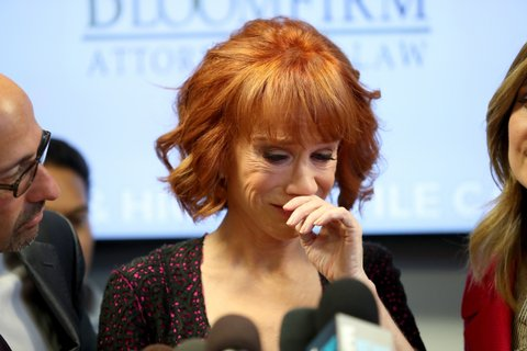 WOODLAND HILLS, CA - JUNE 02:  Kathy Griffin speaks during a press conference at The Bloom Firm on June 2, 2017 in Woodland Hills, California.  Griffin is holding the press conference after a controversial photoshoot where she was holding a bloodied mask depicting President Donald Trump and to address alleged bullying by the Trump family.  (Photo by Frederick M. Brown/Getty Images)