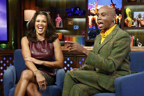 WATCH WHAT HAPPENS LIVE -- Episode 822 -- Pictured: (l-r) Vanessa Williams, RuPaul -- (Photo by: Peter Kramer/Bravo/NBCU Photo Bank via Getty Images)