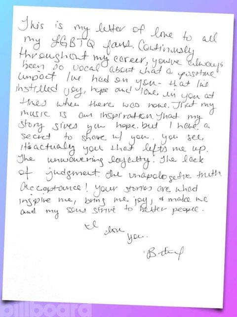 Britney spears writes handwritten love letter to lgbt fans newnownext britney spears spiritdancerdesigns Gallery