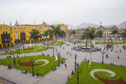 The Plaza de Armas in Lima, Peru. Photographed from a higher perspective.