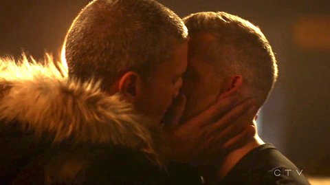 Wentworth Miller And Russell Tovey Share Superhero Kiss On