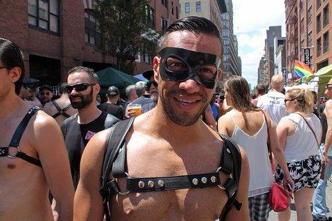 Folsom Street Fair man in harness