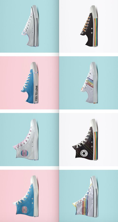 Converse Steps Up Its New Pride Sneaker Line With Trans Flag