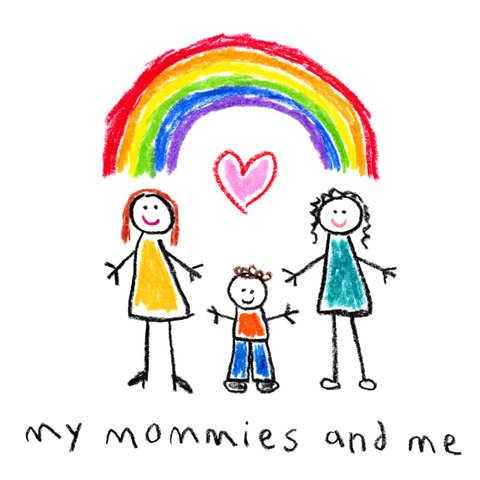 child's drawing lesbian mothers rainbow