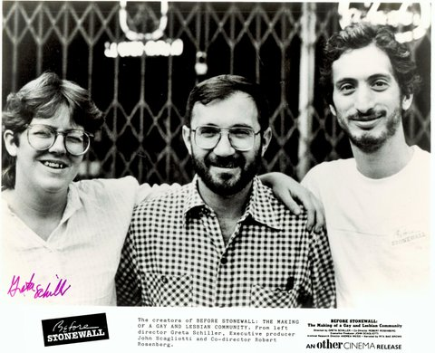 Three Before Stonewall producers in 1985: L-R Director Greta Schiller, executive producer John Scagliotti, and co-director Robert Rosenberg.