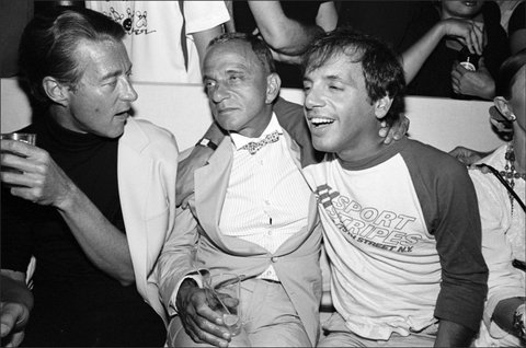 Halston, Roy Cohn, and Steve Rubell, all dead of AIDS, at a Victor Hugo performance at The Mudd Club, NYC, 7/17/79 2674-09 From SoHo Blues - A Personal Photographic Diary of New York City in the 1970s by SoHo Weekly News chief photographer Allan Tannenbaum