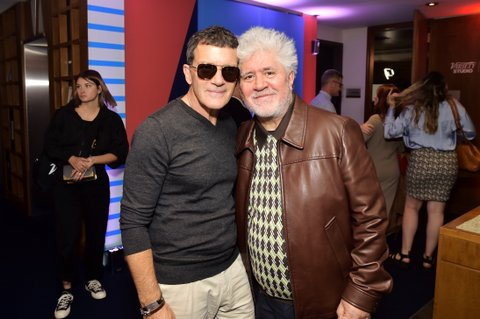 Antonio Banderas and Pedro Almodóvar stop by AT&T ON LOCATION during Toronto International Film Festival 2019 at Hotel Le Germain on September 06, 2019 in Toronto, Canada.
