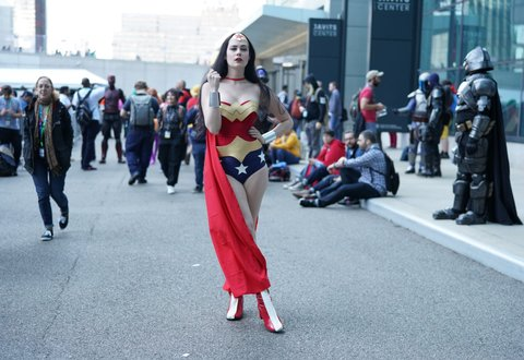 Cosplayers arrive for the third day of the 2019 New York Comic Con
