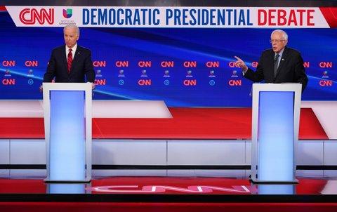 Democratic debate, Biden and Sanders