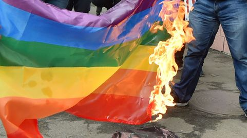 burning lgbtq flag/tradition